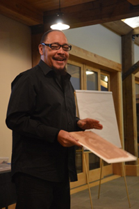 Author/illustrator Floyd Cooper entertains and inspires at the Crash Course.