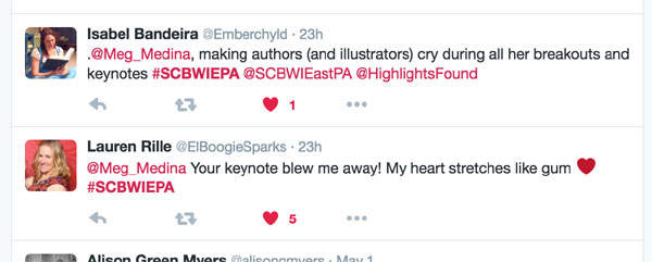 Tweets like these flowed after Meg left the podium. (Well, after we cheered for Meg, and dried our eyes.)