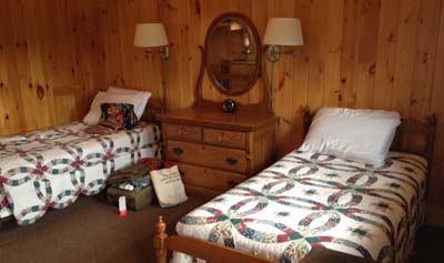 "Inside Hannah's ""quaint cabin."""