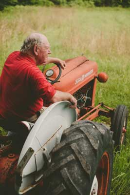 Kent on tractor