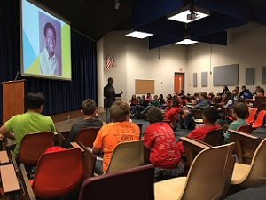 Varian Johnson at a school visit.