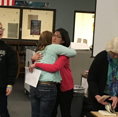 Trying so hard not to cry when this lovely student and her friend ran up to hug me at the end of the presentation.