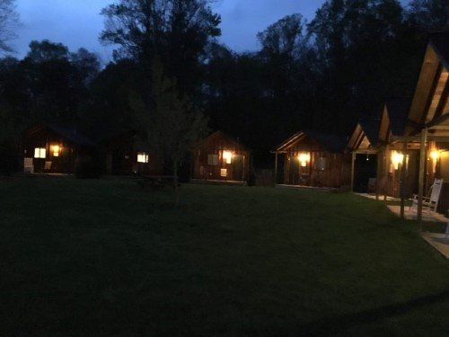 The cabins at night! It was like looking at a cozy little village through my window.
