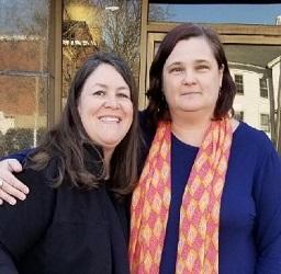 Traci Sorell & Karen Boss outside Charlesbridge's office, Watertown, MA, April 2018