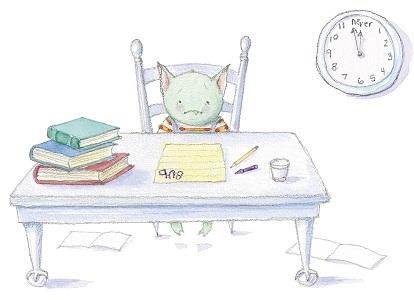 cat at desk