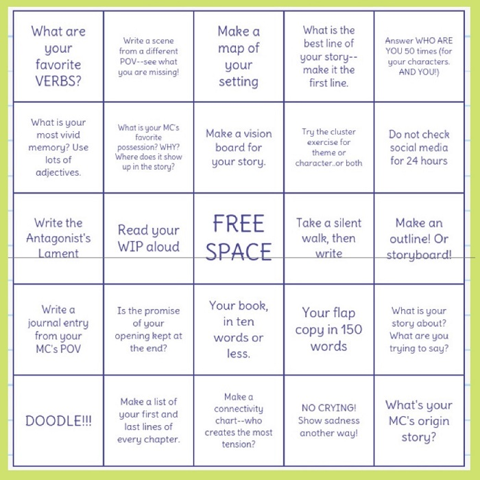 Writers' Bingo