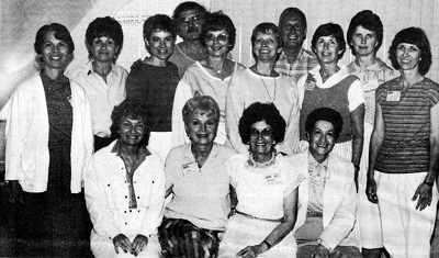 Faculty at the inaugural Highlights Foundation Writers Workshop at Chautauqua in 1985. Seated: Judith Enderle, Bernice Cullinan, Shirley Jorjorian, Pauline Watson; Second row: Caroline Arnold, Stephanie Tessler, Marilyn Kratz, Sally Lucas, Lois Lowry, Kathleen Stevens, Marileta Robinson; Back row: Laurence Pringle, Peter P. Jacobi, Barbara Elleman.