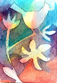 Make a simple design and float watercolors onto wet paper.